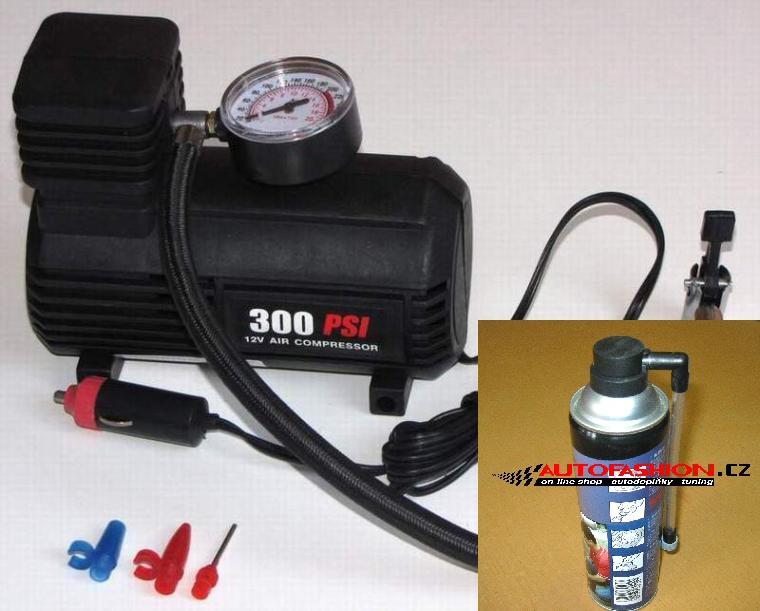 Kompresor do auta na 12V + Sprej na opravu pneumatik - AKCE