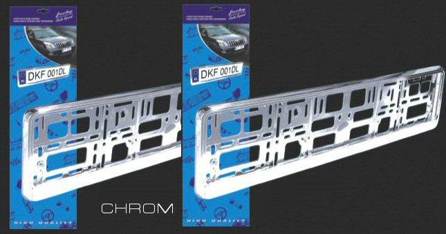 Chromové plastové rámečky pod SPZ automobilu - SADA 2 ks
